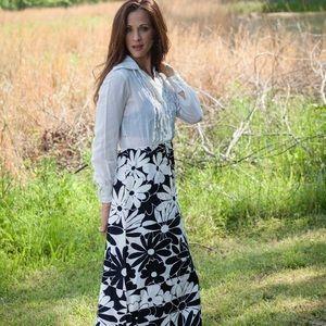 Vintage Rona New York Daisy Maxi Long Sleeve Dress
